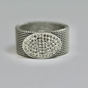 Conemporary Art Ring Stainless Steel White Topaz